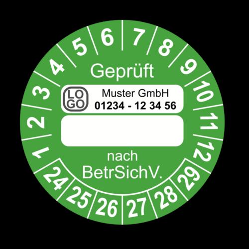 Geprüft … nach BetrSichV., grün (zum Selbstbeschriften), mit Wunschtext