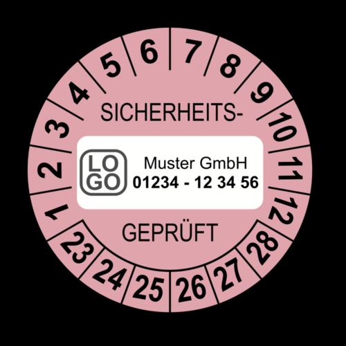 Sicherheitsgeprüft, rosa, mit Wunschtext