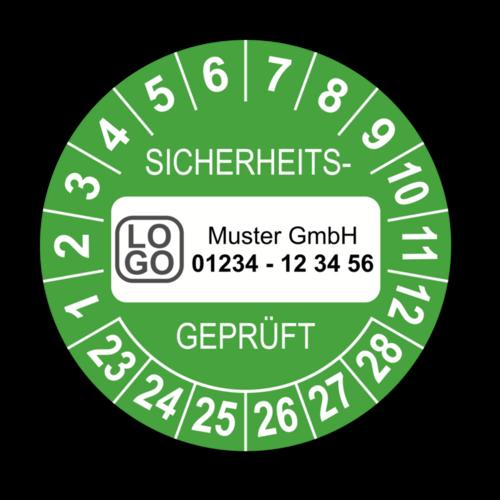 Sicherheitsgeprüft, grün, mit Wunschtext