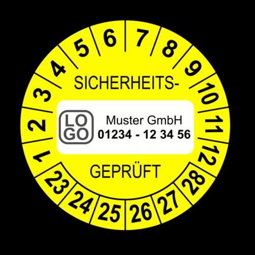 Sicherheitsgeprüft, gelb, mit Wunschtext