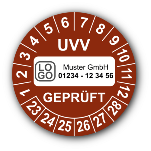 UVV geprüft, braun, mit Wunschtext