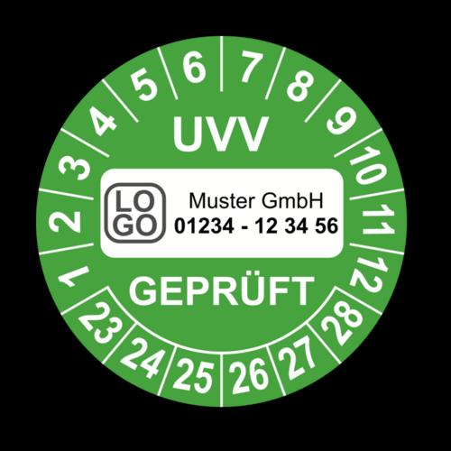 UVV geprüft, grün, mit Wunschtext