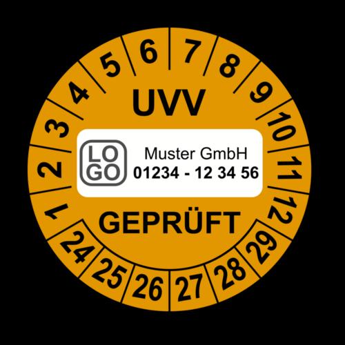 UVV geprüft, orange, mit Wunschtext