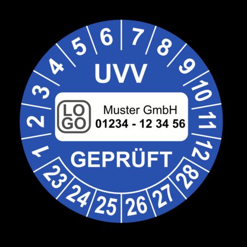 UVV geprüft, blau, mit Wunschtext
