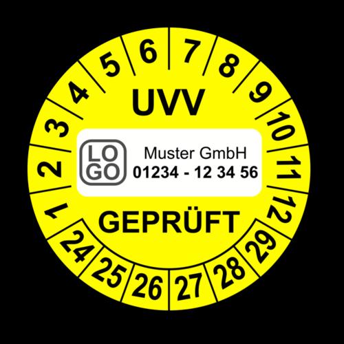 UVV geprüft, gelb, mit Wunschtext