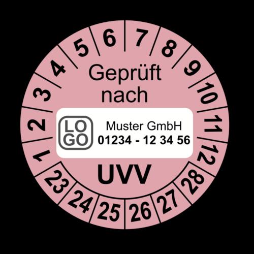 Geprüft nach UVV, rosa, mit Wunschtext