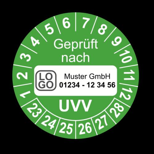 Geprüft nach UVV, grün, mit Wunschtext