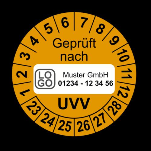 Geprüft nach UVV, orange, mit Wunschtext