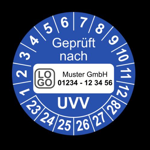 Geprüft nach UVV, blau, mit Wunschtext