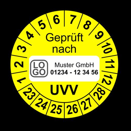 Geprüft nach UVV, gelb, mit Wunschtext