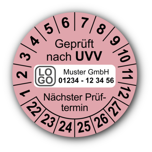 Geprüft nach UVV Nächster Prüftermin, rosa, mit Wunschtext