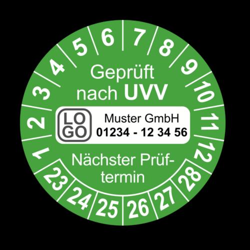 Geprüft nach UVV Nächster Prüftermin, grün, mit Wunschtext