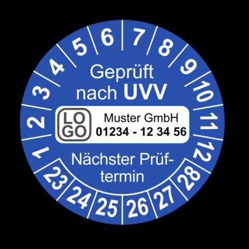 Geprüft nach UVV Nächster Prüftermin, blau, mit Wunschtext