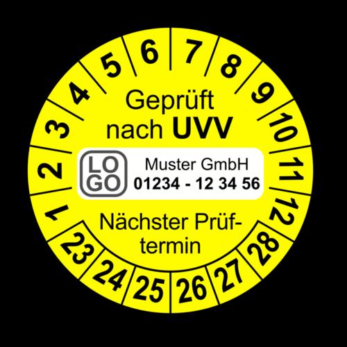 Geprüft nach UVV Nächster Prüftermin, gelb, mit Wunschtext