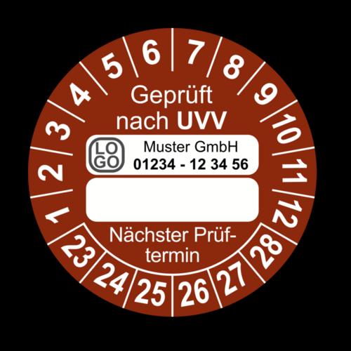 Geprüft nach UVV … Nächster Prüftermin, braun (zum Selbstbeschriften), mit Wunschtext