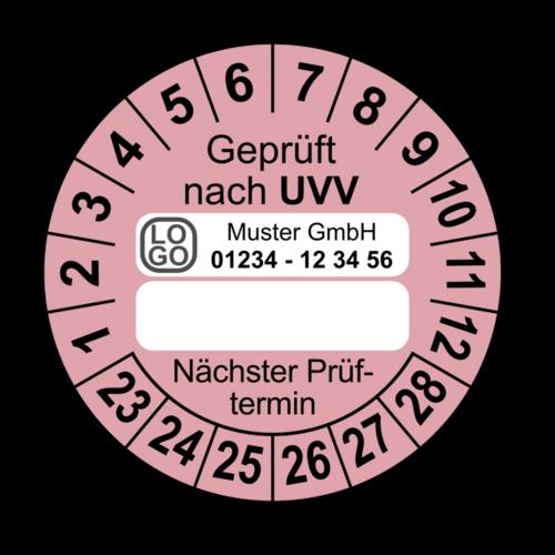 Geprüft nach UVV … Nächster Prüftermin, rosa (zum Selbstbeschriften), mit Wunschtext