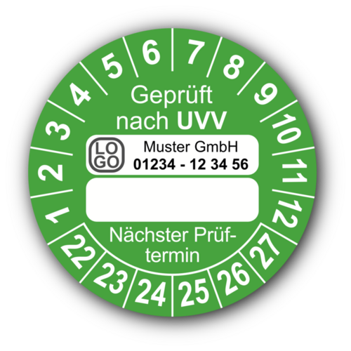 Geprüft nach UVV … Nächster Prüftermin, grün (zum Selbstbeschriften), mit Wunschtext