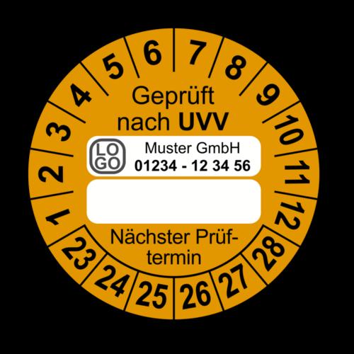 Geprüft nach UVV … Nächster Prüftermin, orange (zum Selbstbeschriften), mit Wunschtext