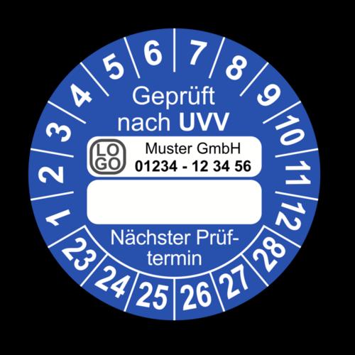 Geprüft nach UVV … Nächster Prüftermin, blau (zum Selbstbeschriften), mit Wunschtext