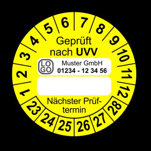 Geprüft nach UVV … Nächster Prüftermin, gelb (zum Selbstbeschriften), mit Wunschtext