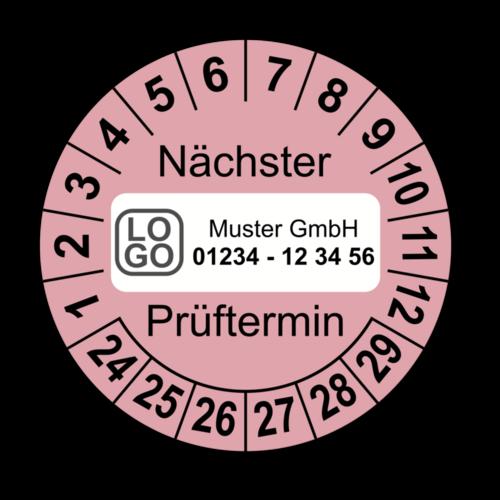 Nächster Prüftermin, rosa, mit Wunschtext