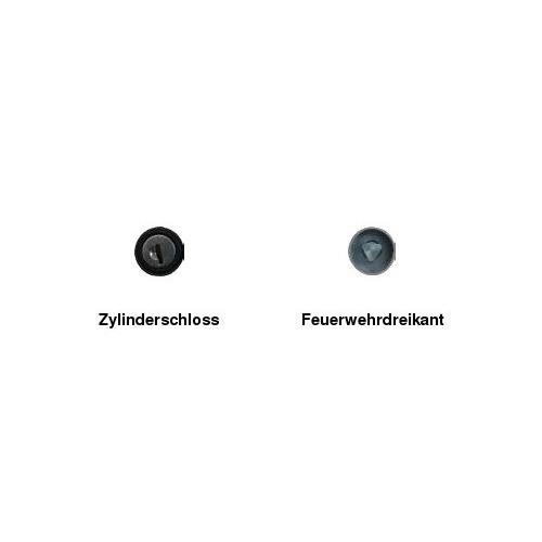 Absperrpfosten 70 x 70 mm, umlegbar, zum Aufdübeln, FwD + ZS, ohne Ösen
