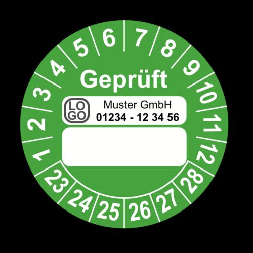 Geprüft …, grün (zum Selbstbeschriften), mit Wunschtext