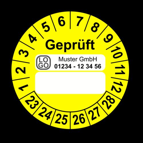 Geprüft …, gelb (zum Selbstbeschriften), mit Wunschtext