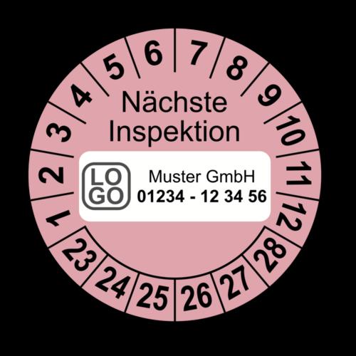 Nächste Inspektion, rosa, mit Wunschtext