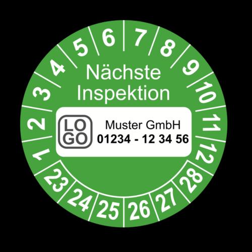 Nächste Inspektion, grün, mit Wunschtext