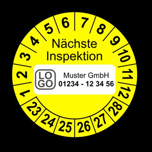 Nächste Inspektion, gelb, mit Wunschtext