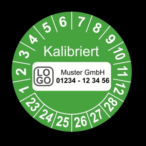 Kalibriert, grün, mit Wunschtext