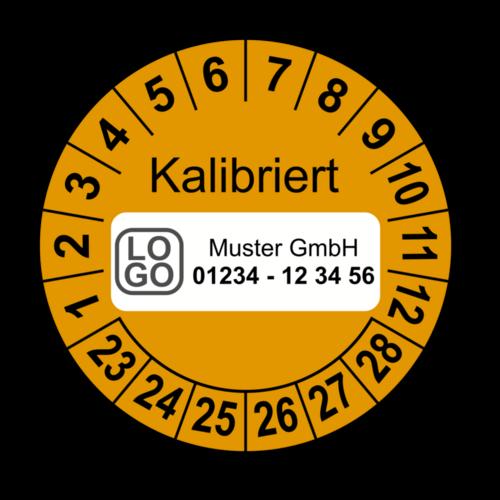 Kalibriert, orange, mit Wunschtext