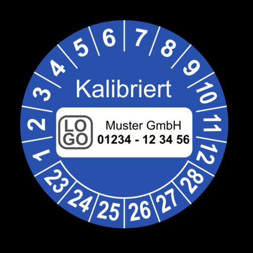 Kalibriert, blau, mit Wunschtext