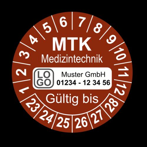 Medizintechnik MTK Gültig bis, braun, mit Wunschtext