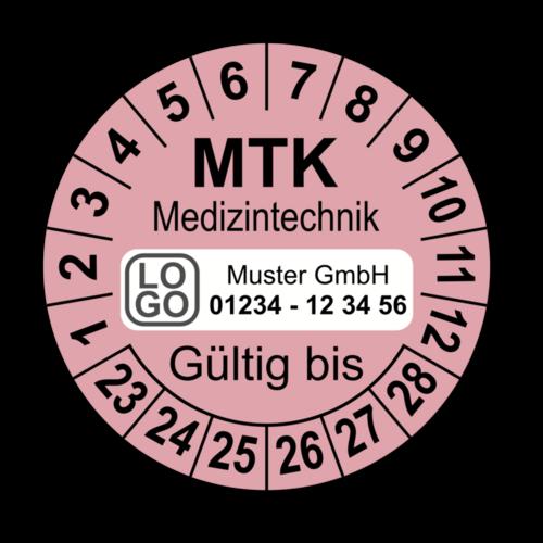 Medizintechnik MTK Gültig bis, rosa, mit Wunschtext