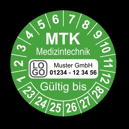 Medizintechnik MTK Gültig bis, grün, mit Wunschtext