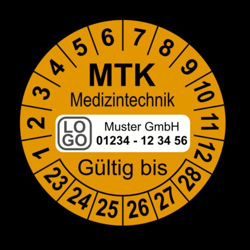Medizintechnik MTK Gültig bis, orange, mit Wunschtext