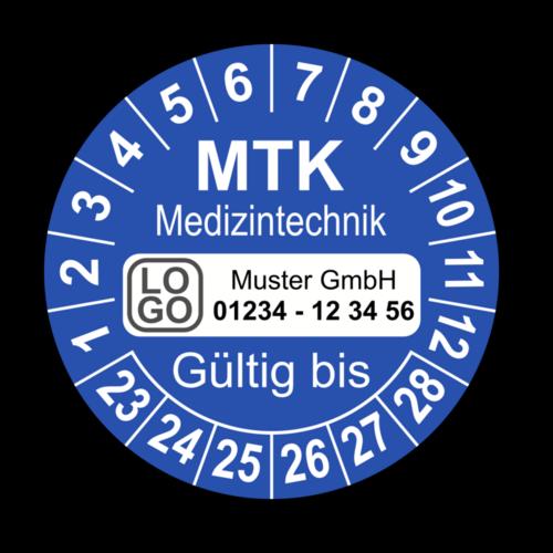Medizintechnik MTK Gültig bis, blau, mit Wunschtext