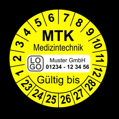 Medizintechnik MTK Gültig bis, gelb, mit Wunschtext
