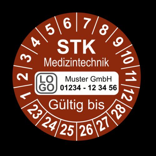 Medizintechnik STK Gültig bis, braun, mit Wunschtext