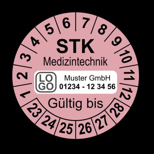Medizintechnik STK Gültig bis, rosa, mit Wunschtext