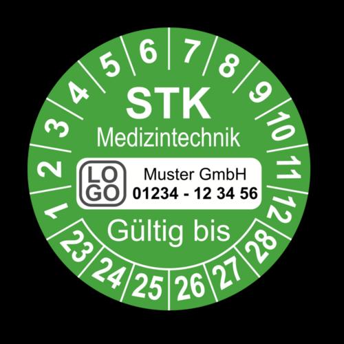 Medizintechnik STK Gültig bis, grün, mit Wunschtext