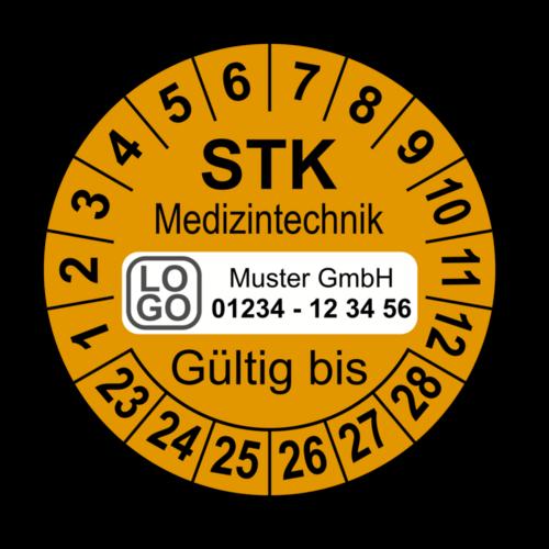 Medizintechnik STK Gültig bis, orange, mit Wunschtext
