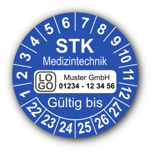 Medizintechnik STK Gültig bis, blau, mit Wunschtext