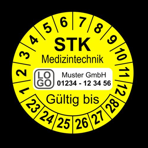 Medizintechnik STK Gültig bis, gelb, mit Wunschtext