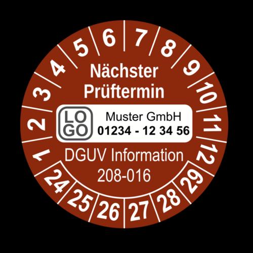Nächster Prüftermin DGUV Information 208-016, braun, mit Wunschtext