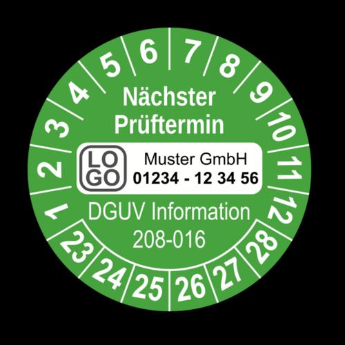 Nächster Prüftermin DGUV Information 208-016, grün, mit Wunschtext