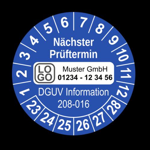 Nächster Prüftermin DGUV Information 208-016, blau, mit Wunschtext