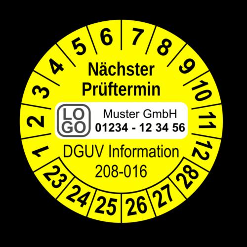 Nächster Prüftermin DGUV Information 208-016, gelb, mit Wunschtext